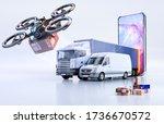 online contactless drone... | Shutterstock . vector #1736670572