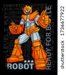 print with hand drawing robot.... | Shutterstock .eps vector #1736677922