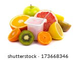 variety of fruits and yogurt in ... | Shutterstock . vector #173668346