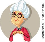 funny vector cartoon granny... | Shutterstock .eps vector #1736744588
