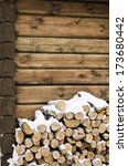 Birch Fire Wood At A Wall Of...