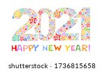 happy new year 2021. greeting... | Shutterstock . vector #1736815658