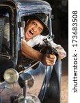 yelling man firing submachine...   Shutterstock . vector #173683508