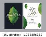 simple and elegant green leaf... | Shutterstock .eps vector #1736856392