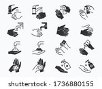 hand washing icons set. vector... | Shutterstock .eps vector #1736880155