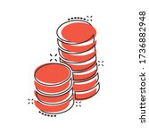 Coins Stack Icon In Comic Styl...