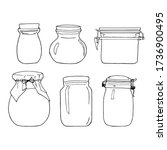 hand drawn jar set. contour... | Shutterstock .eps vector #1736900495