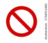 red prohibition sign on white...   Shutterstock .eps vector #1736911682