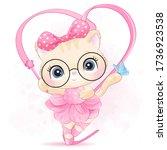 cute little kitty with ballerina   Shutterstock .eps vector #1736923538