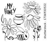 Cute Set Yellow Bee  Daisy...