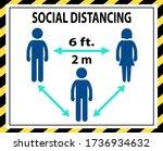 social distancing six 6 feet 2... | Shutterstock .eps vector #1736934632