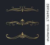vintage design golden set of... | Shutterstock .eps vector #1736941682