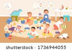 happy cute kid playing with... | Shutterstock .eps vector #1736944055