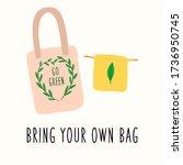 reusable grocery eco bag. zero... | Shutterstock .eps vector #1736950745