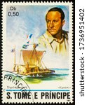 Small photo of Moscow, Russia - May 21, 2020: stamp printed in Sao Tome and Principe shows portrait of Thor Heyerdahl (1914-2002), Norwegian scientist, adventurer and ethnographer, Kon-Tiki balsa raft, circa 1982