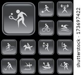 sport button set | Shutterstock .eps vector #173697422