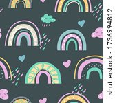 cute kids rainbow seamless... | Shutterstock .eps vector #1736994812