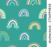 cute kids rainbow seamless... | Shutterstock .eps vector #1736994818