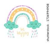 baby cute rainbow vector... | Shutterstock .eps vector #1736994908