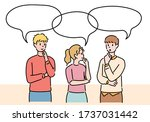 people are making gestures to... | Shutterstock .eps vector #1737031442