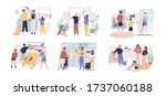 happy parents with children... | Shutterstock .eps vector #1737060188