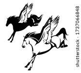 pegasus winged horse flying... | Shutterstock .eps vector #1737066848