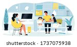 busy mother freelancer engaged...   Shutterstock .eps vector #1737075938