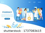 pharmacy concept. people put... | Shutterstock .eps vector #1737083615