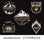 vintage mountain camp logos ... | Shutterstock . vector #1737093122