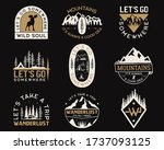 vintage camp logos  mountain... | Shutterstock . vector #1737093125