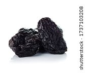Small photo of Dried plum on a white background, prune isolated, Raw organic prunes, smoked prunes close-up