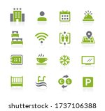 hotel and rentals icons 1 of 2  ... | Shutterstock .eps vector #1737106388