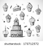 sketches of cakes and cupcakes... | Shutterstock .eps vector #173712572