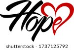 hope text with heart symbol.... | Shutterstock .eps vector #1737125792