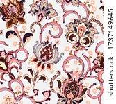 hand drawn flower seamless...   Shutterstock . vector #1737149645