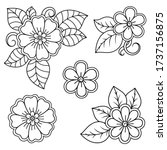 set of mehndi flower pattern... | Shutterstock .eps vector #1737156875
