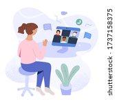 school learning on video... | Shutterstock .eps vector #1737158375