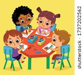 four kids in kindergarten... | Shutterstock .eps vector #1737202562