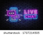live chat service neon sign... | Shutterstock .eps vector #1737214505