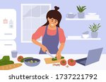 cook healthy food at home. cute ... | Shutterstock .eps vector #1737221792