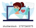 young girl doctor in a... | Shutterstock .eps vector #1737260375