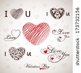 various heart shape designs and ... | Shutterstock .eps vector #173732156