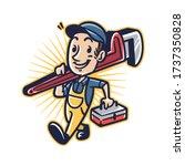 cartoon plumber man mascot logo | Shutterstock .eps vector #1737350828
