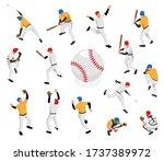 isometric sport baseball set...   Shutterstock .eps vector #1737389972