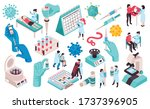 isometric vaccination color set ... | Shutterstock .eps vector #1737396905