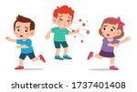 cute little kid girl and boy... | Shutterstock .eps vector #1737401408