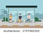 peoples make social distancing... | Shutterstock .eps vector #1737402242