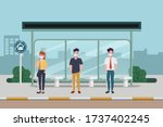peoples make social distancing... | Shutterstock .eps vector #1737402245