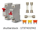 Automatic circuit breaker. Fuse of electrical protection component. Electric switches. Fuse box. Vector illustration.