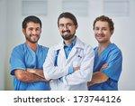 portrait of three clinicians in ... | Shutterstock . vector #173744126